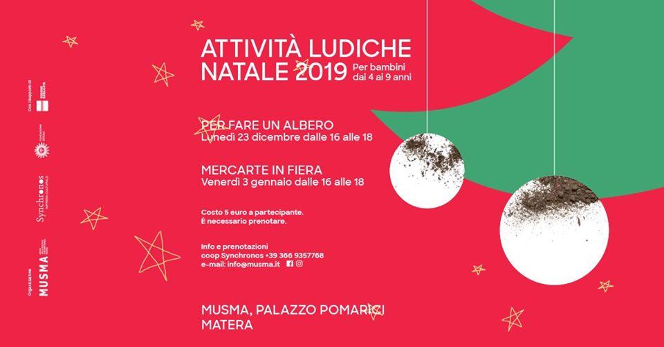Attività ludiche Natale 2019 al MUSMA