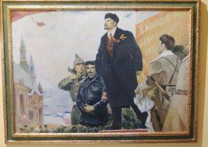 Dipinto Lenin e la Rivoluzione esposto presso la Casa Museo del Comunismo di Matera